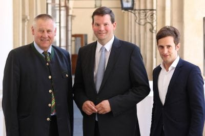KO Karl Lackner, EU-Abg. Lukas Mandl, LAbg Lukas Schnitzer